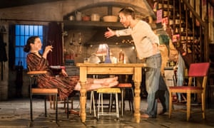 laura donnelly and paddy considine around the kitchen table in the ferryman
