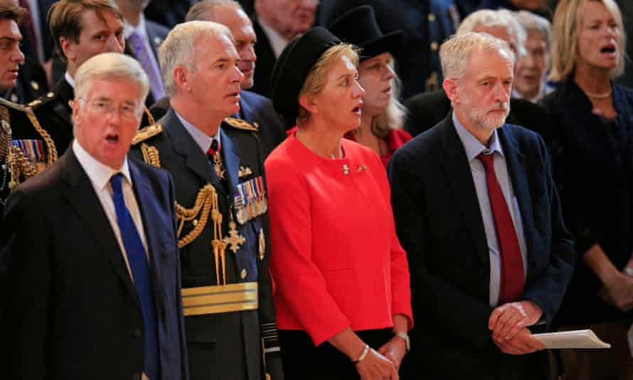 Leader of the Labour party Jeremy Corbyn (right) stands as the national anthem is sung during a service at St Paul's Cathedral in London to mark the 75th anniversary of the Battle of Britain