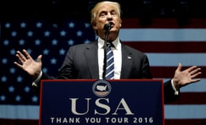 Donald Trump speaks at a Thank You USA rally on Friday.