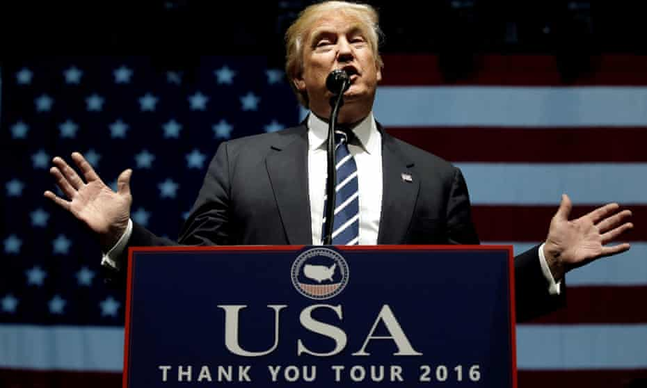 President-elect Donald Trump speaks in Grand Rapids, Michigan on Friday.