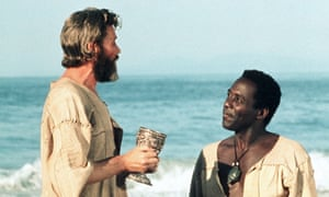 Peter O'Toole as Robinson Crusoe and Richard Roundtree as Man Friday in the 1975 film