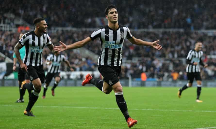 Mikel Merino celebrates scoring Newcastle's goal against Crystal Palace.