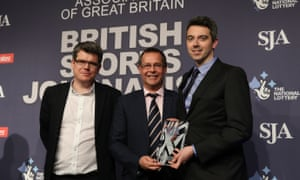 Head of Sport Owen Gibson (left) and website editor James Dart (right) receive the Sports Website of the Year award from Andy Reed,director of the Sports Think Tank at Loughborough University.