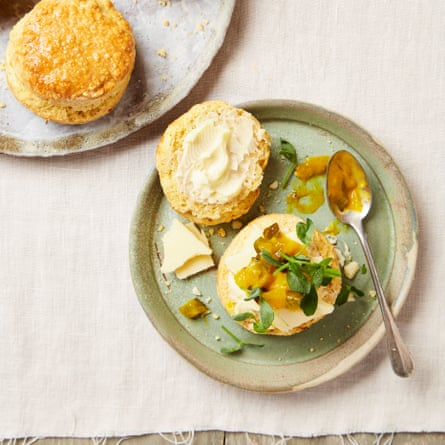 Saffron and mustard scones with cheddar and piccalilli