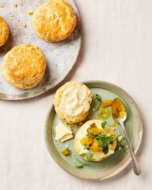 Yotam Ottolenghi's saffron and mustard scones with cheddar and piccalilli