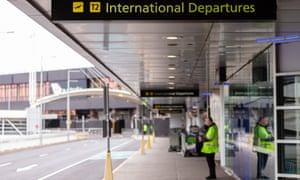Melbourne international airport. 'There are only so many island states in the world and you have to have closed off international travel to even make it an aim,' says Brett Sutton.
