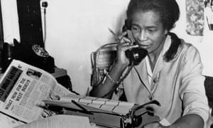 Claudia Jones at the offices of the West Indian Gazette in Birxton, London, in 1962.