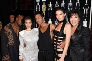 Olivier Rousteing backstage at Paris Fashion week with bosom buddies Kanye West, Kim Kardashian, Kendall Jenner and Kris Jenner.