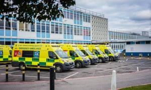 Ambulances outside Birmingham city hospital.