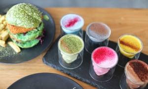 Brightly coloured vegan food at Matcha Mylkbar.