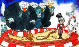 Cartoon of Theresa May in the circus trying to get three fats cats to jump through a hoop