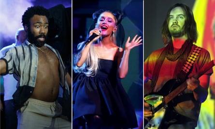 Childish Gambino, Ariana Grande, and Kevin Parker of Tame Impala.