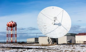 Iceland is dotted with unusual structures such as this giant satellite dish at the former US Naval Air Station Keflavik.