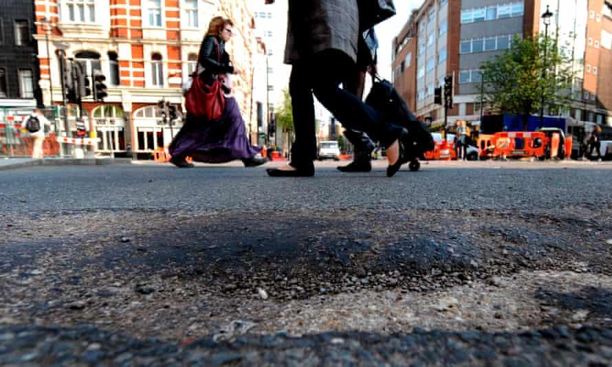 Pothole on a British road