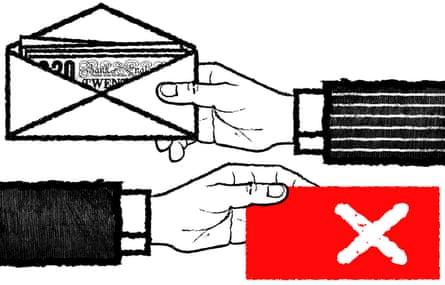 Illustration of envelopes changing hands with money for votes by David Foldvari