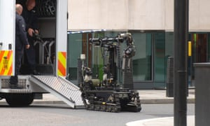 Bomb-disposal robots such as the one seen here have been used by the military as a weapon, according to Peter Singer of the New America Foundation, but never before by police.