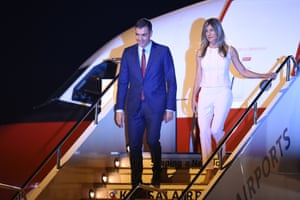 Spain's Prime Minister Pedro Sanchez and his wife Begona Sanchez arrive at Kansai airport in Izumisano city, Osaka prefecture.