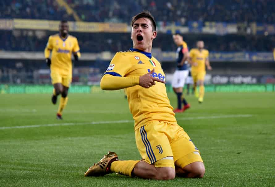 Paulo Dybala celebrates his second goal in the win at Verona.