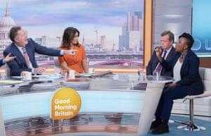 Piers Morgan, Susanna Reid, Ken Wharfe and Dr Shola Mos-Shogbamimu 'Good Morning Britain' TV show,