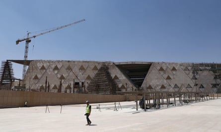 Exterior of the almost-completed Grand Egyptian Museum, Giza, Egypt.
