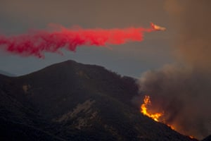 Santa Barbara, California: A firefighting BAE-146s jet drops fire retardant in the Los Padres national forest