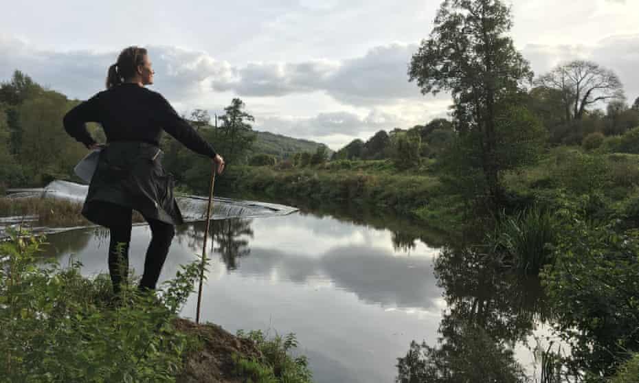 Catherine Fairweather looking over Avon Valley , Warleigh Weir , Claverton