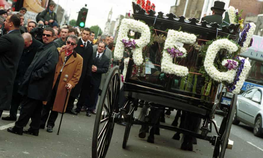 Criminally successful … Reggie Kray's funeral at Bethnal Green in east London in October 2000.