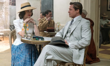 Looking as if they are intent on squashing off-screen rumours … Cotillard and Pitt in Allied.