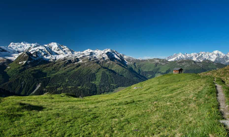 View of the Grand Combin and Mont Blanc massifs.