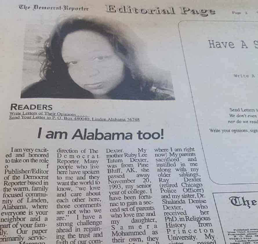 Elecia Dexter's editorial in her first issue as editor of the Democrat-Reporter