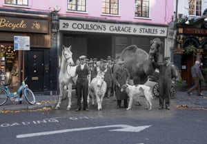 Stable companions appear in Song of the Drum at Drury Lane theatre in Endell Street on 30 December 1933. Text on the pavement marks a loading bay on 23 November 2017