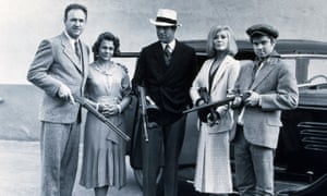 Michael J Pollard, right, in Bonnie and Clyde, with, from left:Gene Hackman, Estelle Parsons, Warren Beatty and Faye Dunaway.