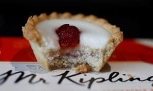 a half-eaten bakewell tart from Mr Kipling