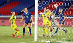 Fridolina Rolfo of Sweden scores their first goal