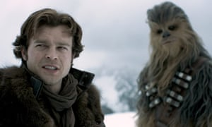 Alden Ehrenreich and Joonas Suotamo in Solo: A Star Wars Story.
