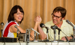 Emma Stone as Billy Jean King and Steve Carell as Bobby Riggs in Battle of the Sexes.