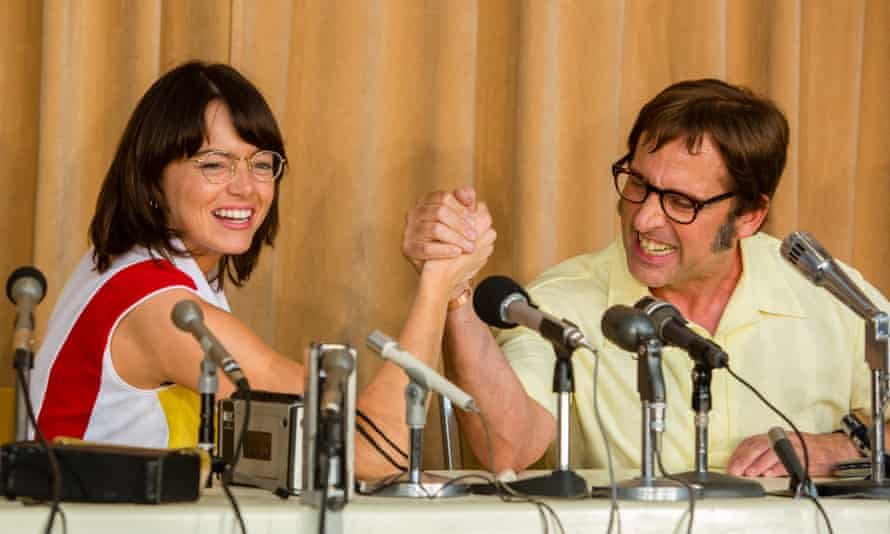 Emma Stone and Steve Carrell as King and Riggs.