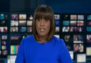 Charlene White reading ITV's News at 10 for the first time, in 2014