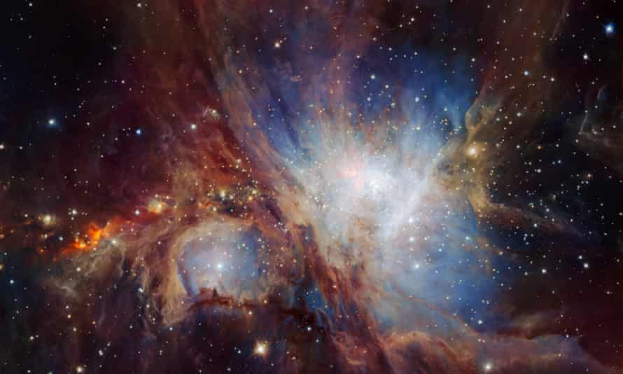 The glowing gas of the Orion Nebula.