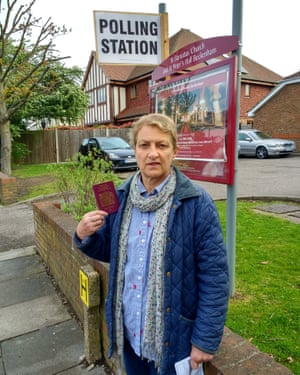 Susan with her passport outside a polling station in Bromley