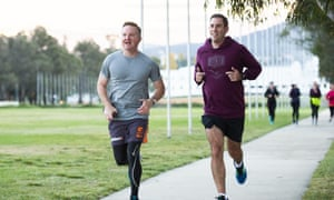 Chris Bowen, left, and Jim Chalmers, right, on a run together outside parliament house in Canberra before the election.