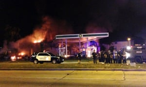 Burning petrol station in Milwaukee