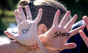 Kaelyn Bracco, a student at Marjory Stoneman Douglas, during a national school walkout.