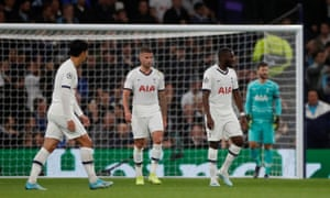 Tottenham Hotspur players look dejected during the 7-2 defeat by Bayern Munich.