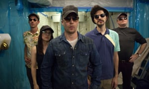 Sam Rockwell, centre, and his crew in Blue Iguana.
