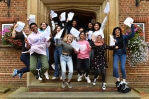 Jumping for joy at King Edward VI high school for girls in Birmingham