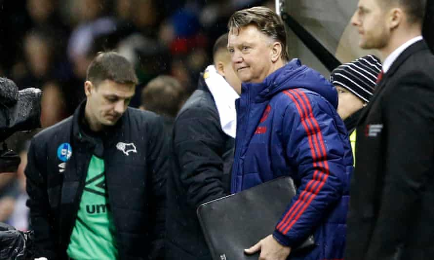 Louis van Gaal, Manchester United manager, v Derby in FA Cup