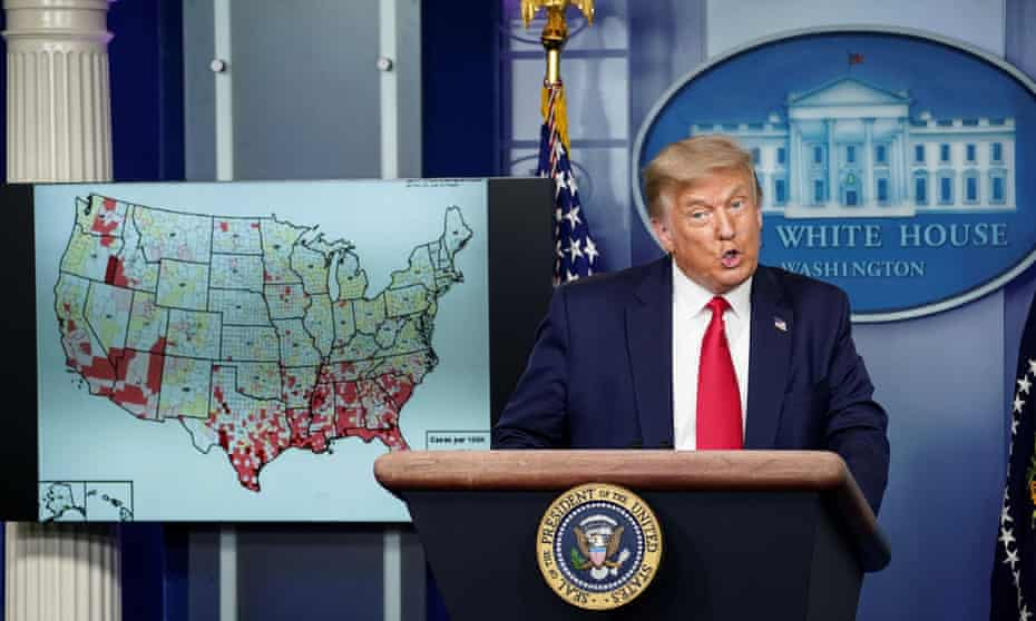Trump hosts coronavirus response task force briefing at the White House in July 2020.