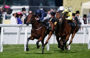 Ryan Moore takes Even Song to the front in the Ribblesdale Stakes.