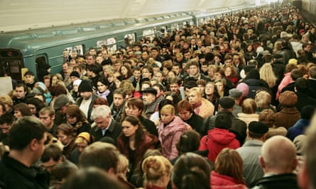 Commuters on Moscow's metro